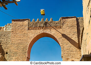 Gate in Medina of Marrakesh, a UNESCO heritage site in Morocco