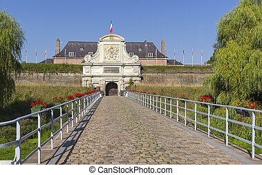 Gate in the old fortress. Lille, France. Sunny day in early ...