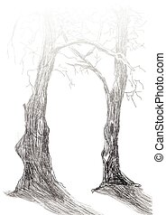 trees - Gate into forest, horror trees - An hand drawn...