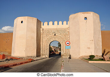 Gate into the old town of Marrakech, Morocco
