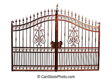 Gate - Iron gate with swirled decoration on white...