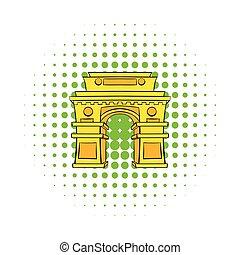 Gate, New Delhi, India icon, comics style