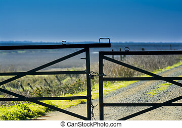 Gate of a fence in the countryside