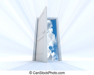 gate of heaven - white door that opens to an interior of the...
