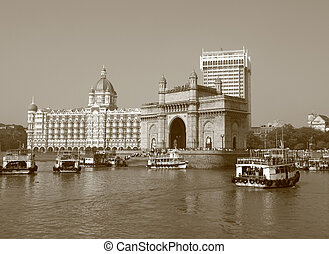 Gate of India and famous  hotel Taj Mahal Palace in Mumbai
