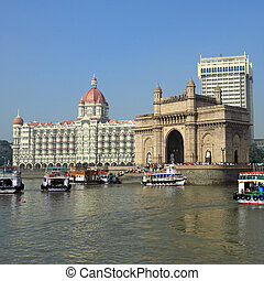Gate of India and hotel Taj Mahal Palace  in Mumbai ( formerly Bombay), India, Asia