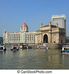 Gate of India and hotel Taj Mahal Palace  in Mumbai ( formerly Bombay), India, Asia