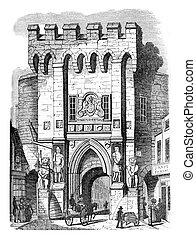 Gate of Southampton, vintage engraving. - Gate of...