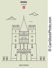 Gate of Spalen in Basel, Switzerland. Landmark icon