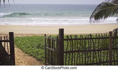 Gate Opening to Pathway onto Beach in Hikkaduwa - Wooden...