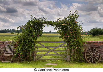 Gate - View of a field in Kent, England, viewed through a...
