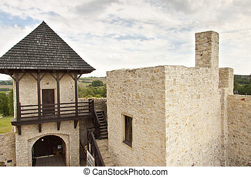 Gate to castle in Bobolice - Poland.