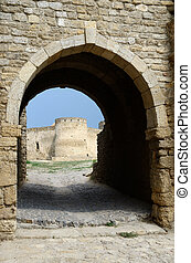 Gate to middle fortess bastion in old turkish stronghold ...