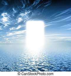 Gate to paradise, way on water towards light, new world, God.