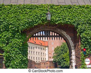 gate to royal castle, Krakow, Poland - gate to royal castle...