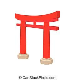 Gate Torii icon, cartoon style