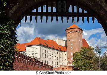 Gate View of Wawel Castle in Krakow