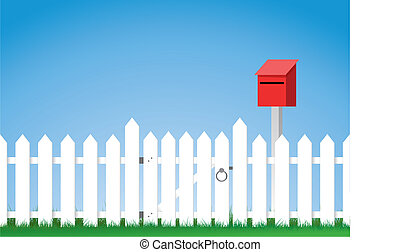 gated, cerca de estacas puntiagudas blanca