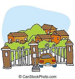 Gated Community - An image of a car at the front gate of a...