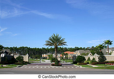 Gated Community - Entrance gate to a gated community in...