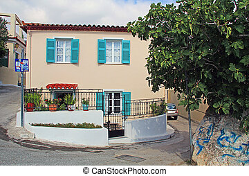 Gated Shuttered Home on a Narrow Street in Athens, Greece