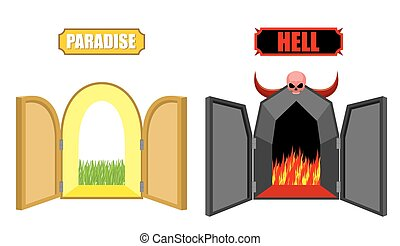 Gates of hell and paradise. Entrance to Satan and God. Scary black door in purgatory. Beautiful bright open door in Paradise gardens. Vector illustration of a religion. Choice after death of Christian.