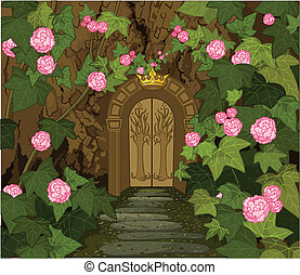 The tree trunk with gates to the Magic Elves Castle