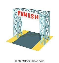 Gates racing finish icon, cartoon style