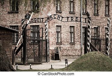 Gates to Auschwitz - Arbeit macht frei sign (Work liberates)...
