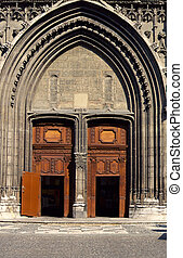 Wooden gateways and porch of cathedral Notre Dame in Chambery, France