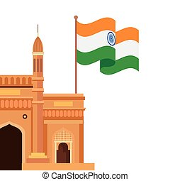 gateway, famous monument with flag of india on white background