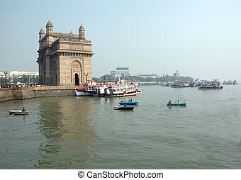 The Gateway of India s a monument in Mumbai ( Bombay), India. Located on the waterfront in Apollo Bunder area in South Mumbai. Its design is a combination of both Hindu and Muslim architectural styles, the arch is in Muslim style while the decorations are in Hindu style.