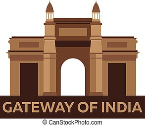 Gateway of India. Indian architecture. Mumbai. Modern flat design. Vector illustration.