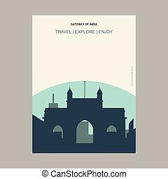 Gateway of India Maharashtra, India Vintage Style Landmark Poster Template