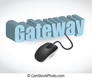 gateway sign and mouse illustration design over white
