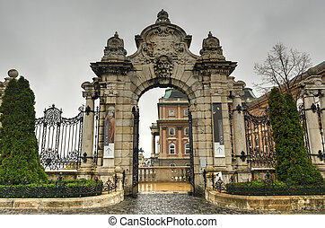 Gateway to Buda Castle, Budapest, Hungary - Budapest, ornate...