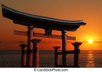 Gateway to the Orient - Japanese Temple Gate to Miyajima...