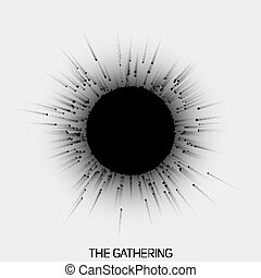 Gathering of point with trails to central object. Nuclear reaction vector illustration. Abstract black and white concept of collaboration. Magnetic attraction of objects to central formation