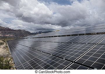 Gathering Storm Clouds Over Desert Solar Panels