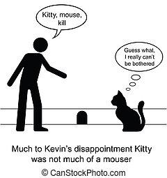 gatito, agujero, ratón