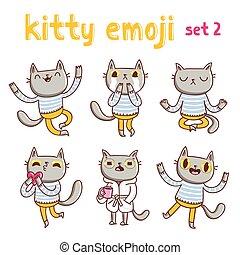 gatito, emoji, conjunto, 2