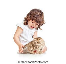 gatito, gato, niño, niña, juego, acariciando