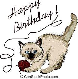 gatito, plaing, con, pelota de lana, y, feliz cumpleaños