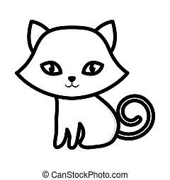 gatito, sentado, adorable, contorno