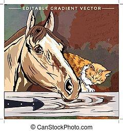 gatito, y, caballo, ilustración