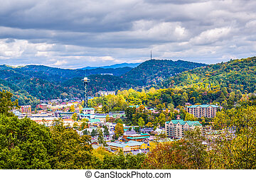 Gatlinburg, Tennessee, USA town skyline in the Smoky...