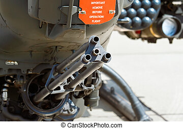 Gatling cannon on attack helicopter. Shallow DOF focus on...