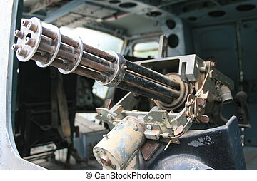 Gatling Gun mounted to Helicopter from the Vietnam War