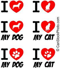 gato, amor, signs., colección, perro