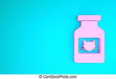 gato, animal., isolado, 3d, pills., medicina, prescrição, garrafa, minimalism, recipiente, cor-de-rosa, render, azul, ícone, experiência., ilustração, concept.